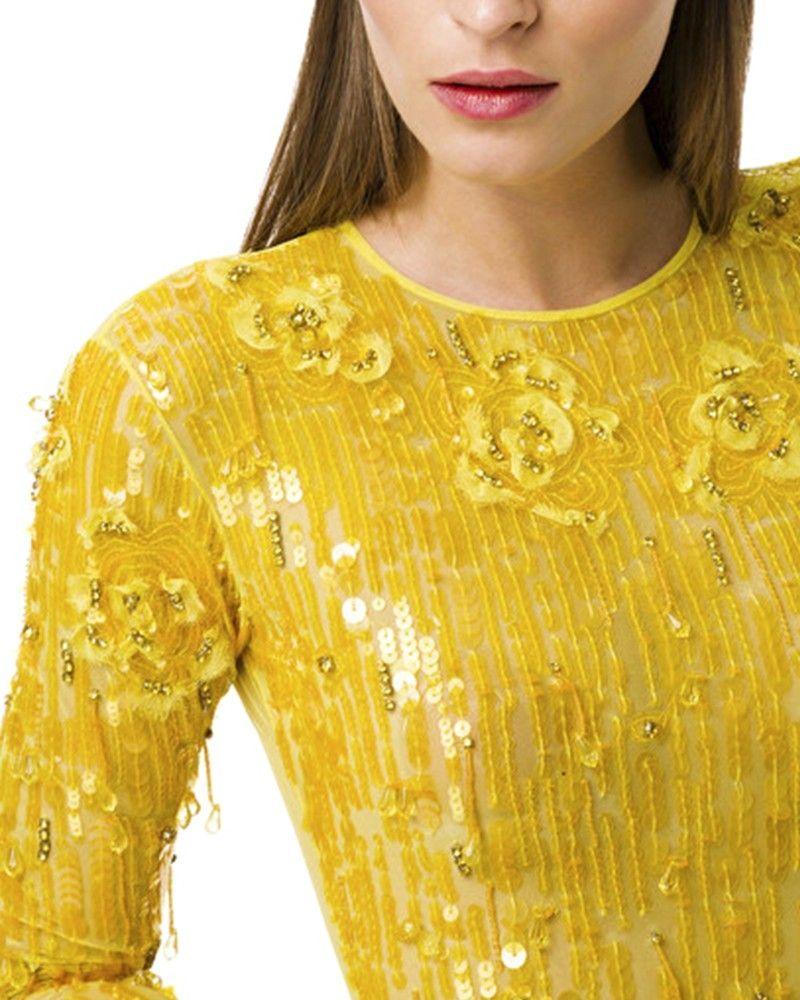 Body en tulle jaune brodé Elisabetta Franchi