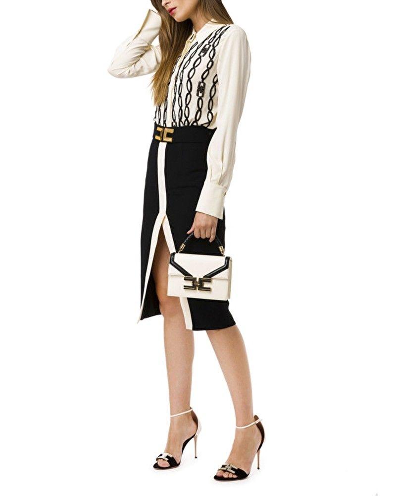 Chemise en mousseline blanche à broderie chaîne Elisabetta Franchi