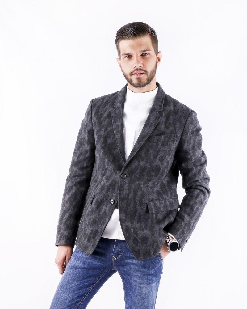 Veste en laine grise à imprimé animal Roberto Cavalli