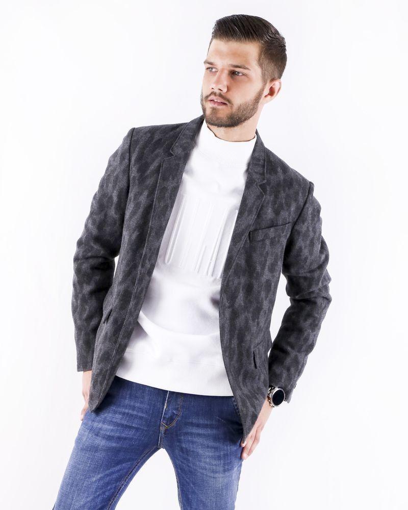 Veste en laine grise à imprimé animal Cavalli