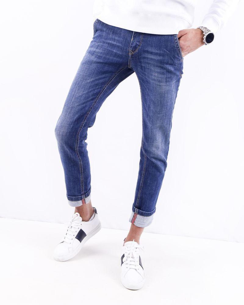 Jean régular en coton bleu délavé 3D