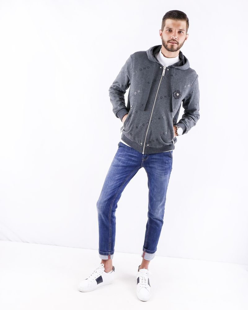 Sweat gilet en coton chiné gris à logo John Richmond