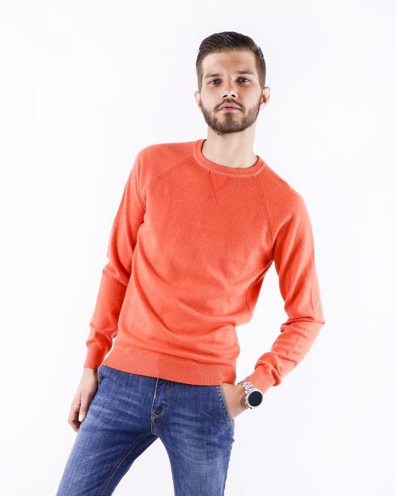 Pull à col rond en laine orange Woolgroup