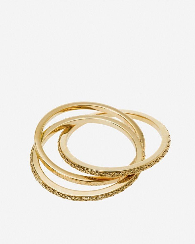 Lot de 3 bracelets rigides en métal doré Elisabetta Franchi