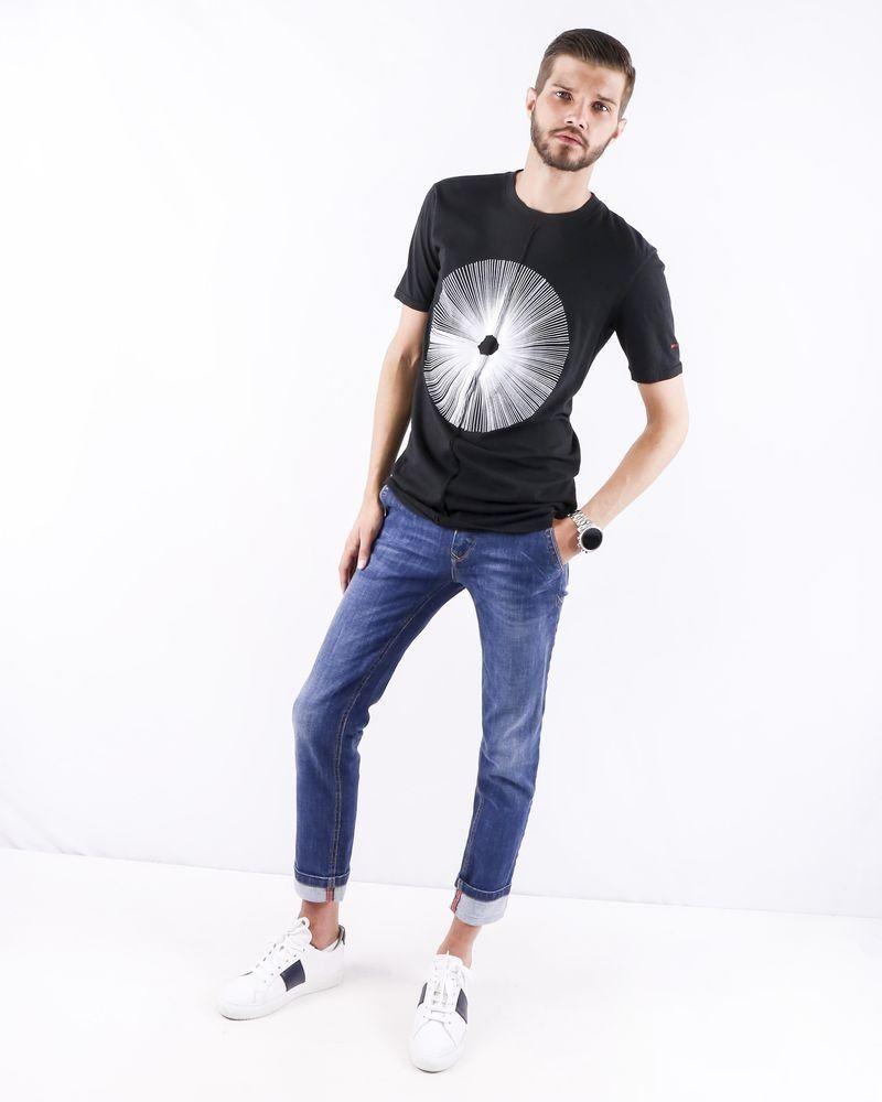 T-shirt asymétrique noir à logo Damir Doma