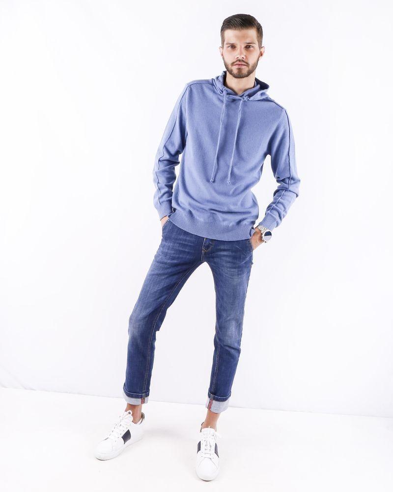 Pull façon sweat en laine et cachemire bleu Woolgroup