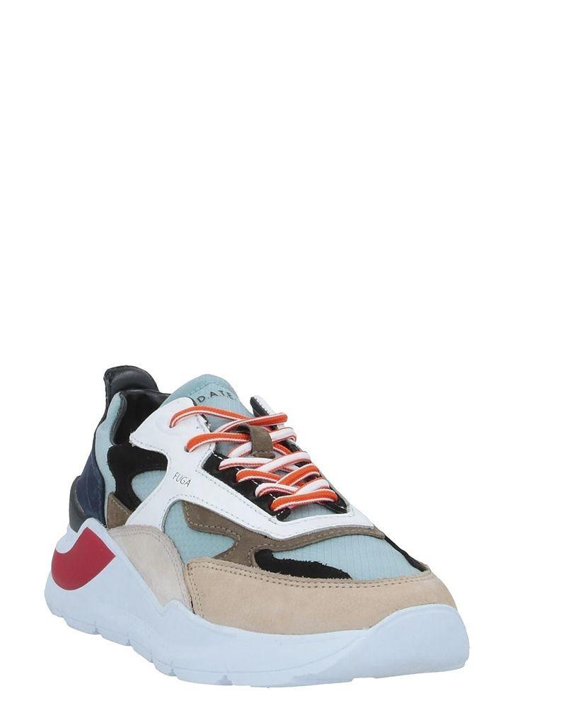 Sneakers blanche et bleue en cuir D.A.T.E