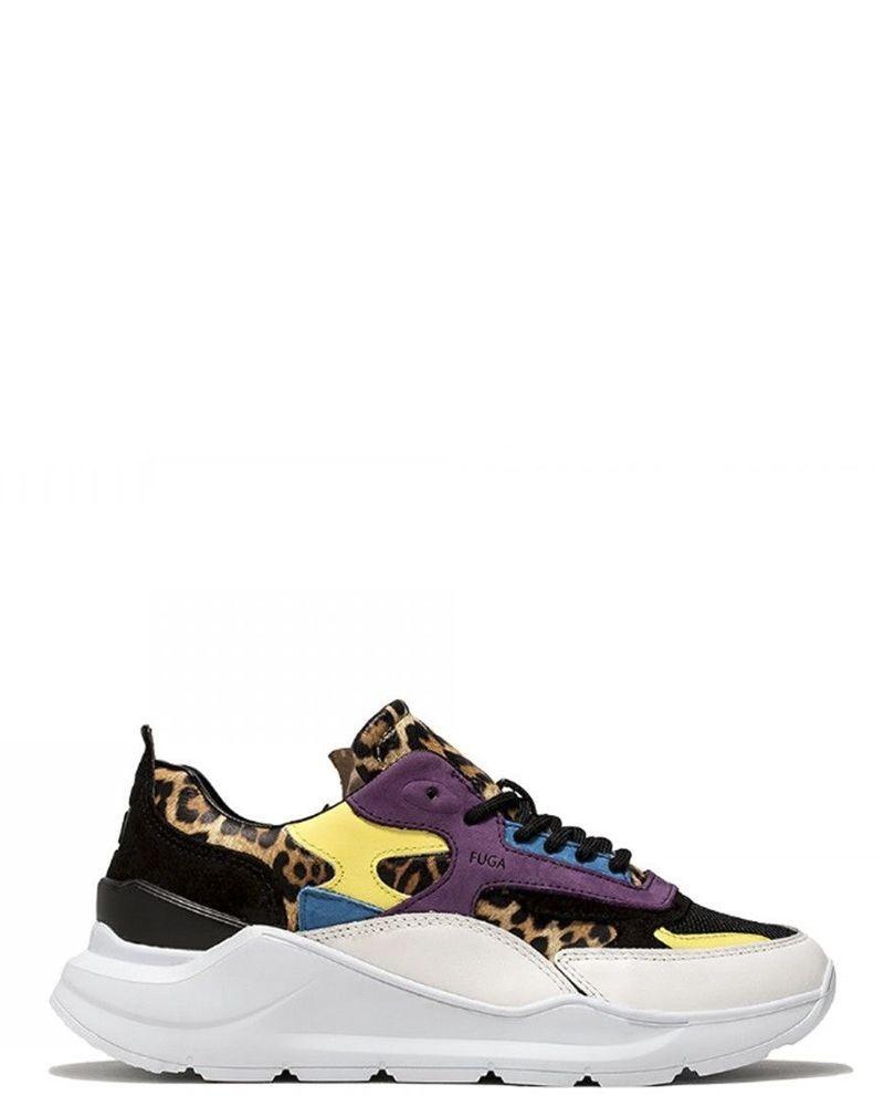 Sneakers blanche et bleue en cuir à motifs leopard D.A.T.E