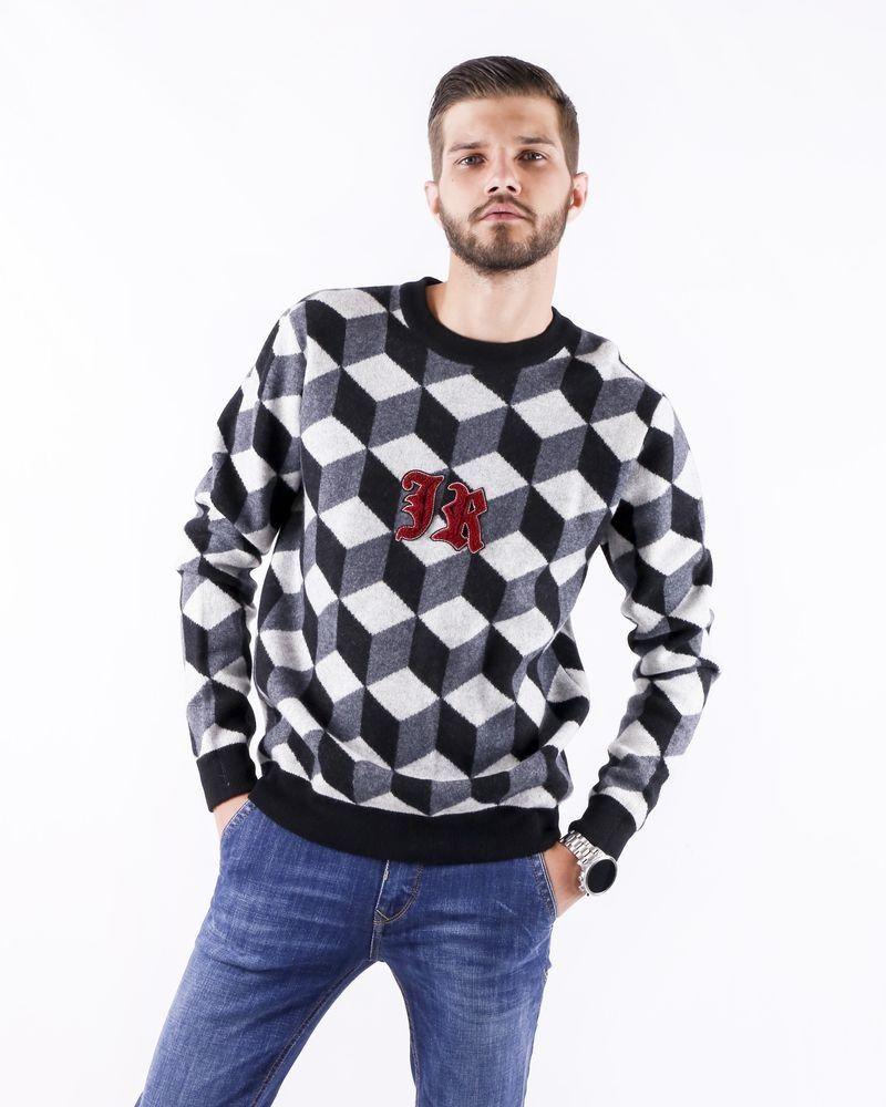 Pull en laine gris à motif géométrique John Richmond