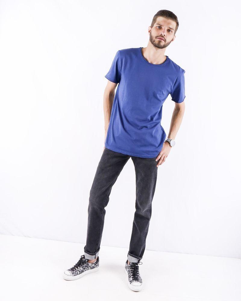 T-Shirt à col rond en coton bleu Woolgroup