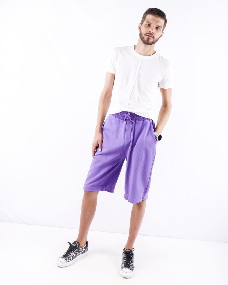 Short smocké en coton violet Damir Doma