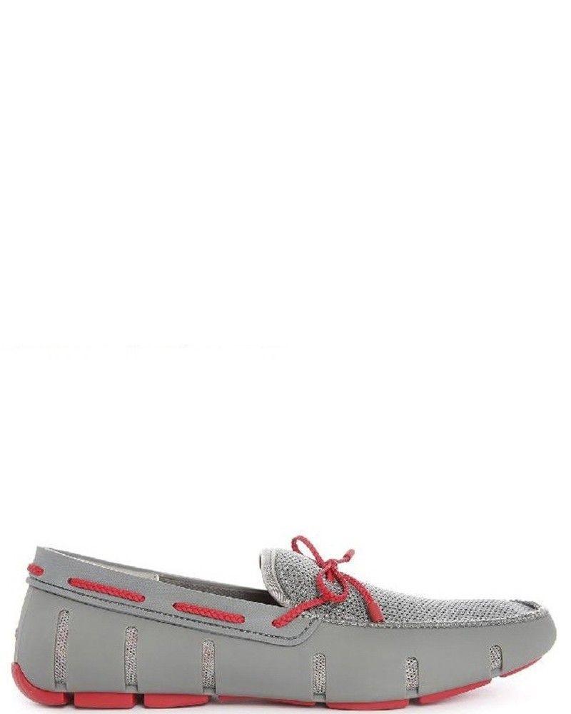 Chaussures bateau grises et rouges Swims