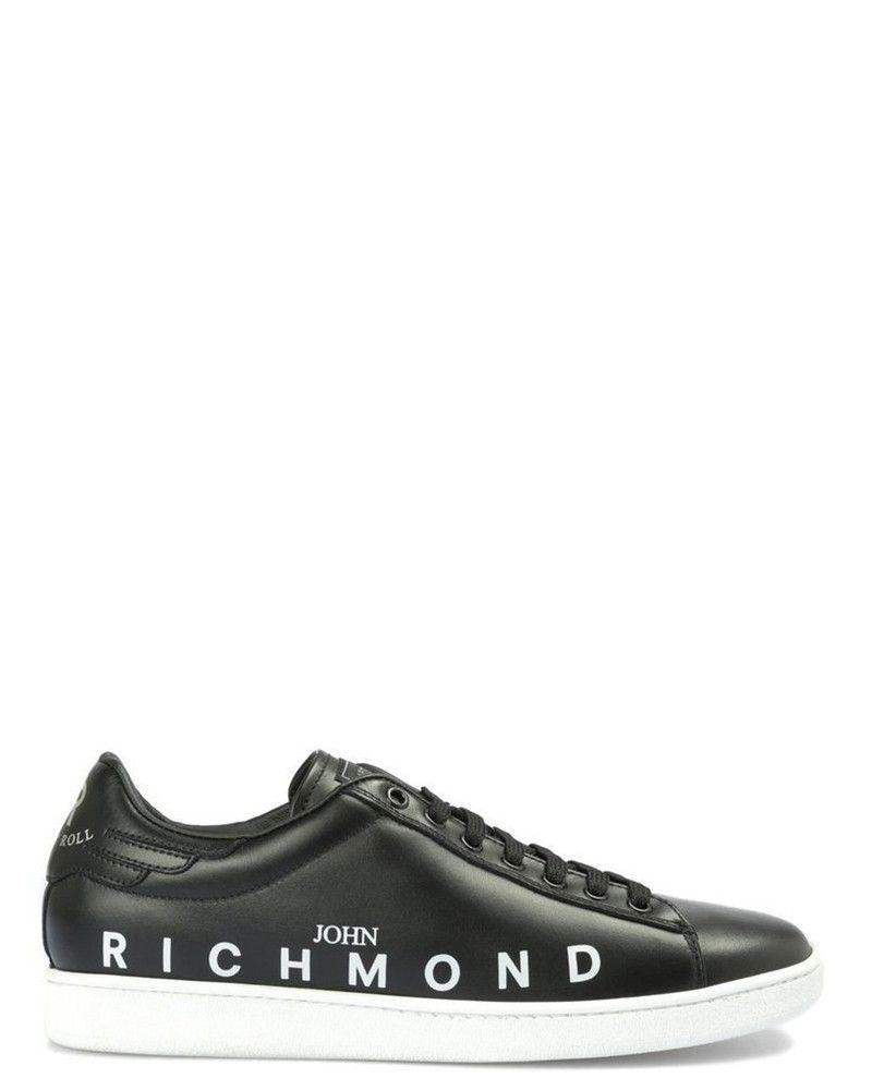Basket en cuir noir John Richmond