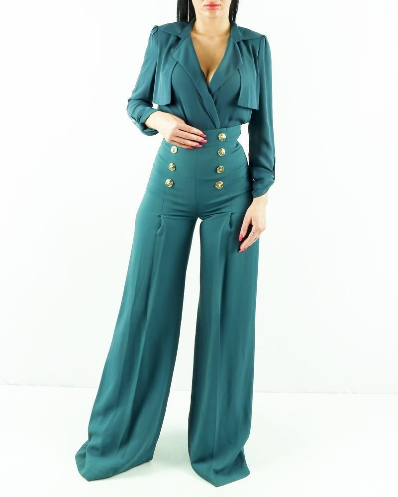 Pantalon palazzo en crêpe vert à boutons fantaisie Elisabetta Franchi