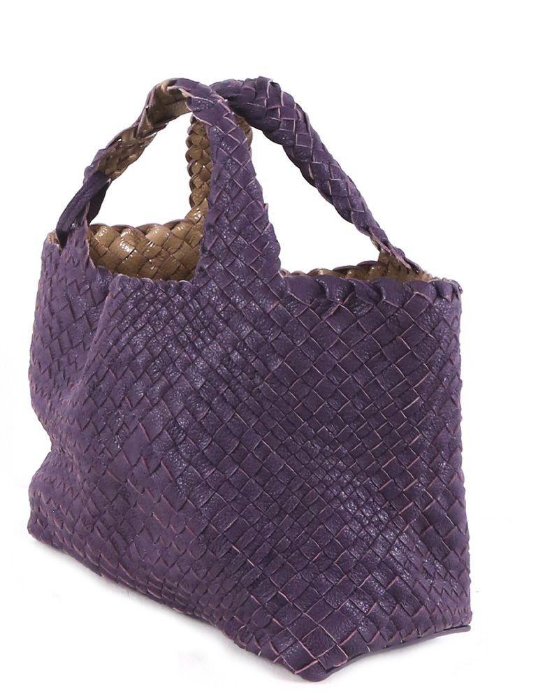 Sac cabas en cuir tressés violet Falorni