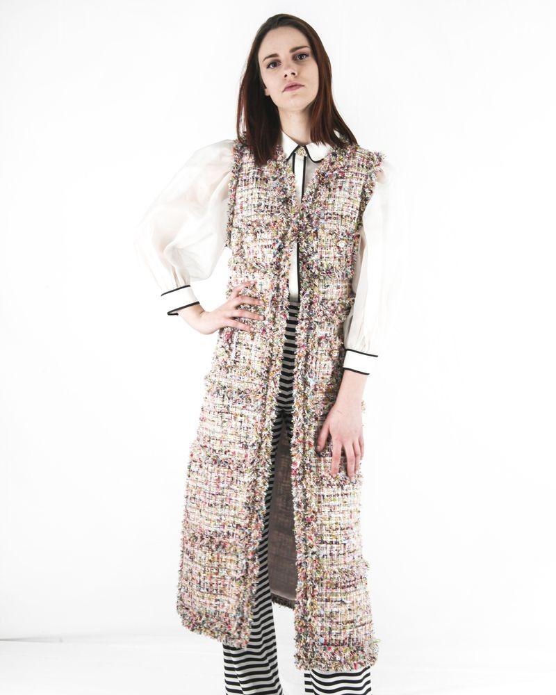 Manteau sans manches beige en tweed multicolore Edward Achour