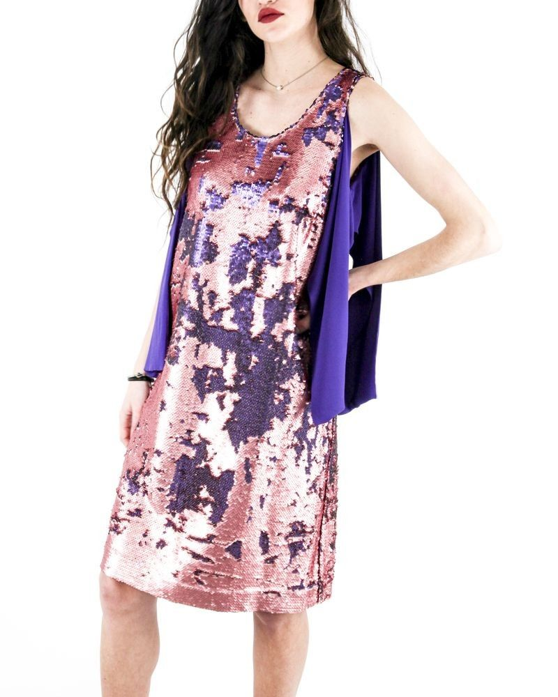 Robe tailleur à sequins réversibles violet Maesta