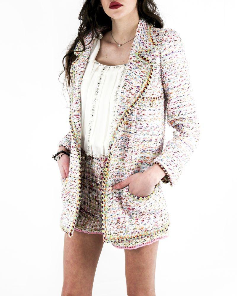 Veste à col en pointe blanc en tweed multicolore Edward Achour