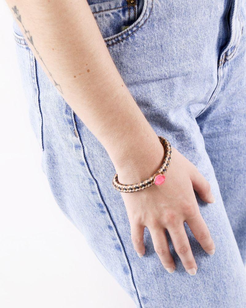 Bracelet en coton tressé à pierre rose Nude