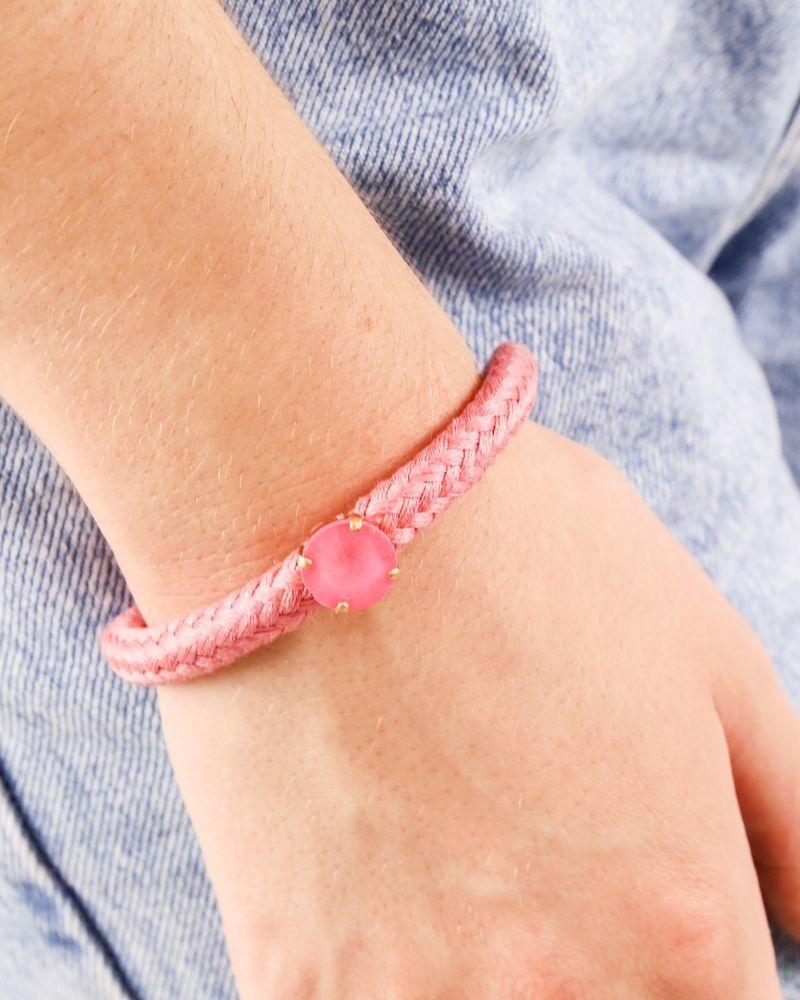 Bracelet en coton tressé rose à pierre rose Nude