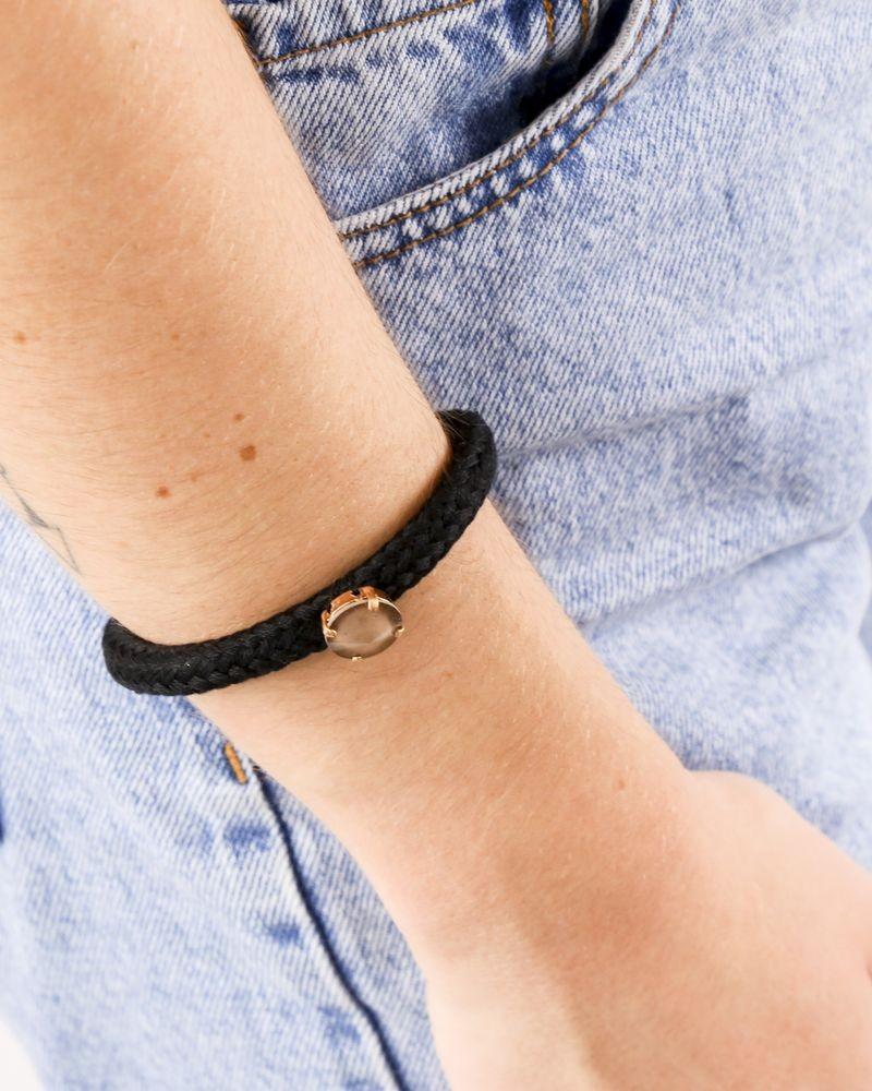 Bracelet en coton tressé noir à pierre beige Nude