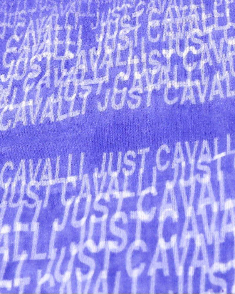 Foulard en coton violet bleuté Roberto Cavalli