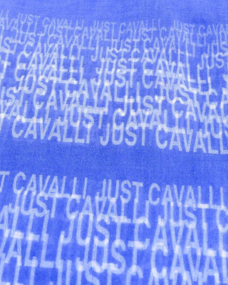 Foulard à imprimé logos bleu Roberto Cavalli