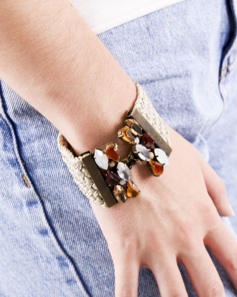 Bracelet en coton beige tressé à pierres Appartamento