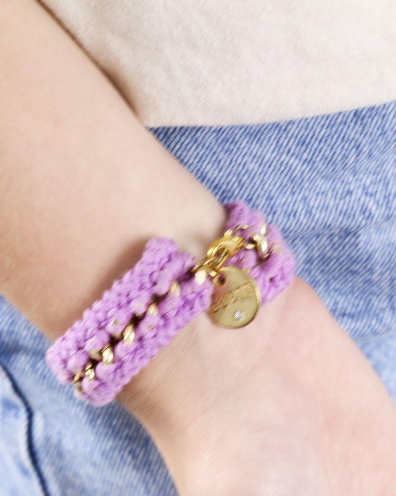 Bracelet en crochet violet à chaine Guess