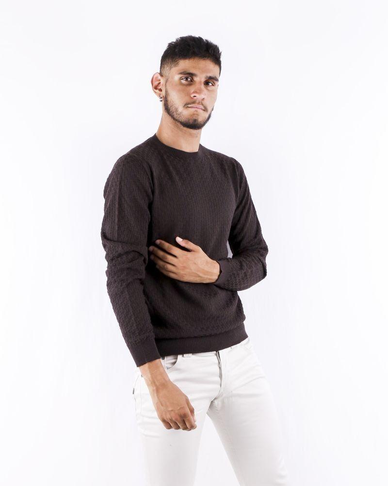 Pull à col rond en laine texturé marron Woolgroup