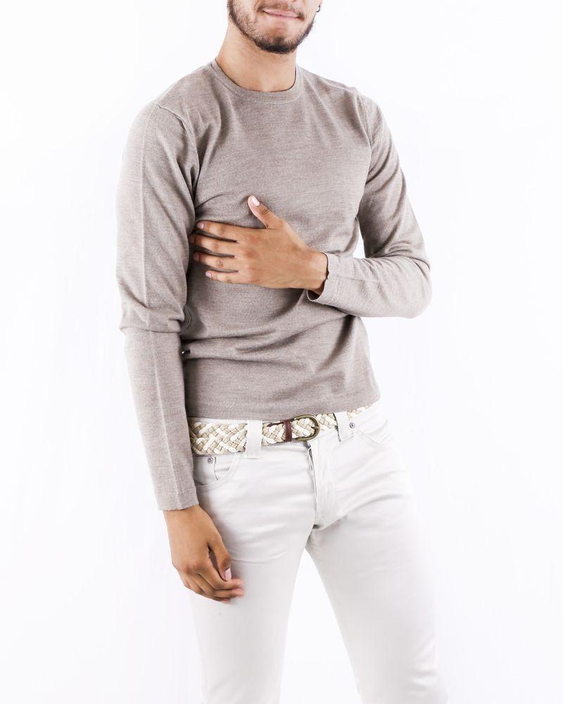Pull à col rond en laine texturé beige Woolgroup