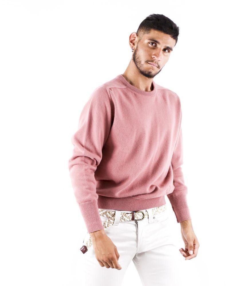 Pull à col rond en laine vieux rose Edition M.R