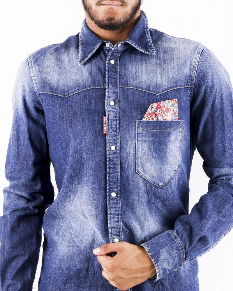 Chemise en jean délavé à pochette fleuris Dsquared2