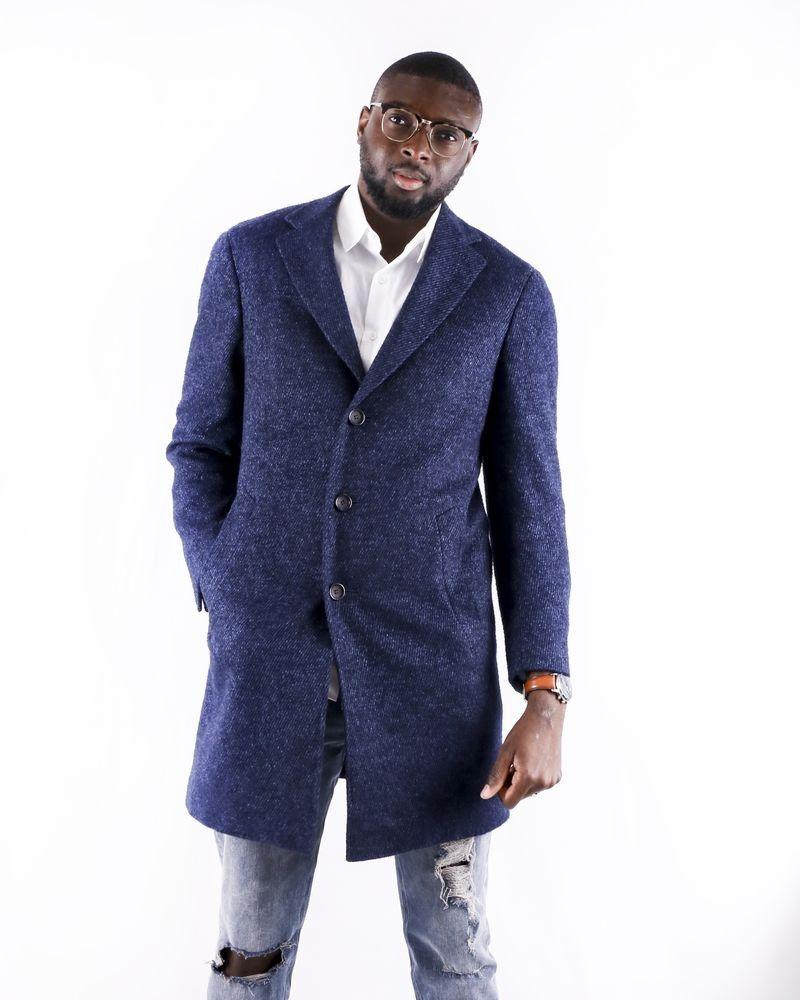 Manteau en alpaga et soie bleu Canali