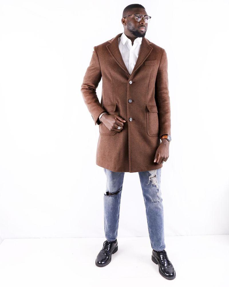 Manteau en laine marron chiné Roda