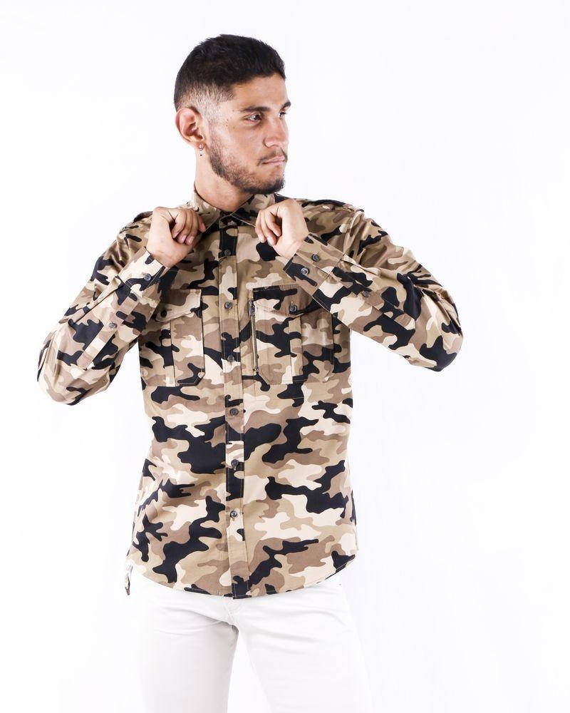 Chemise bicolore à imprimé camouflage Michael Kors