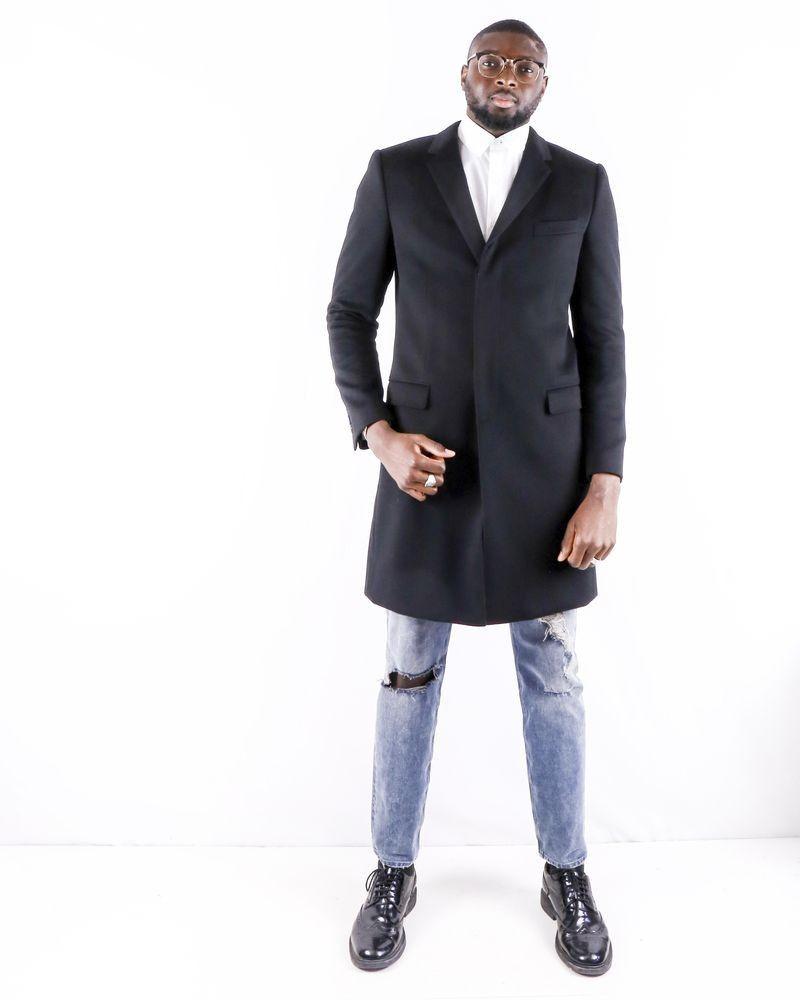 Manteau cintré en laine noir Dolce & Gabbana