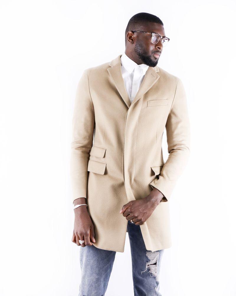 Manteau cintré en laine beige Corneliani