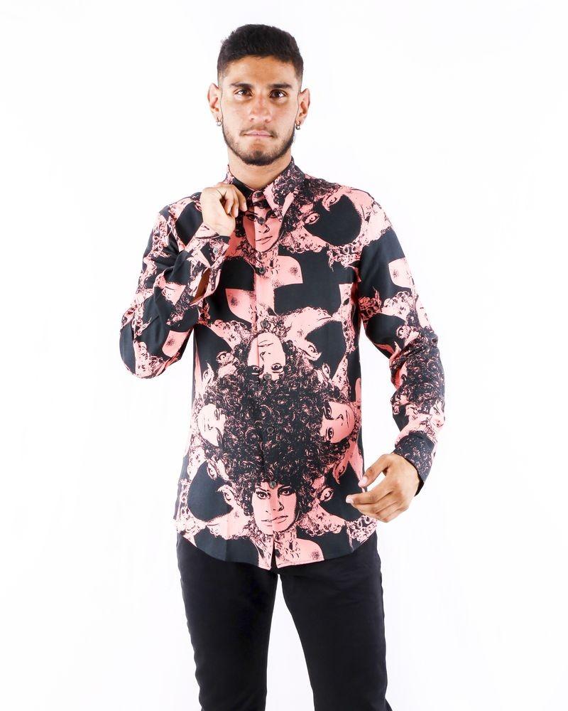 Chemise bicolore à imprimé rock Limitato