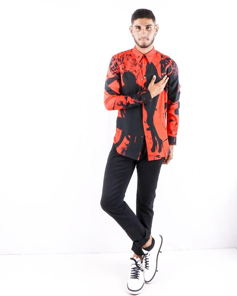 Chemise bicolore à imprimé silhouette Limitato
