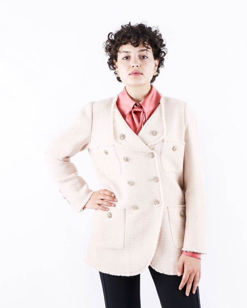Manteau en tweed beige Edward Achour