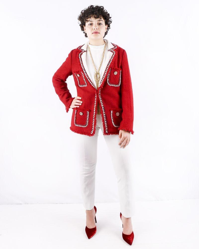 Manteau en tweed rouge à col matelassé Edward Achour