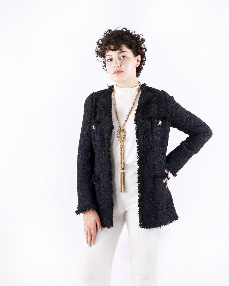 Manteau en tweed noir Edward Achour