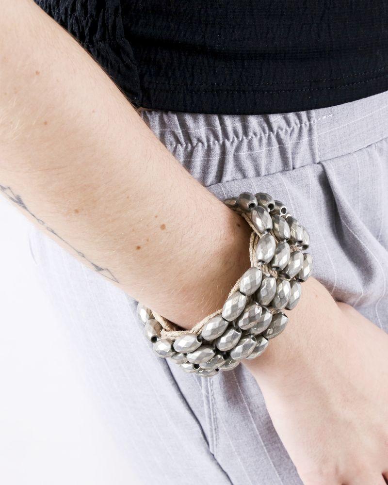 Bracelet en beige en cuir à perles fantaisies Twinset