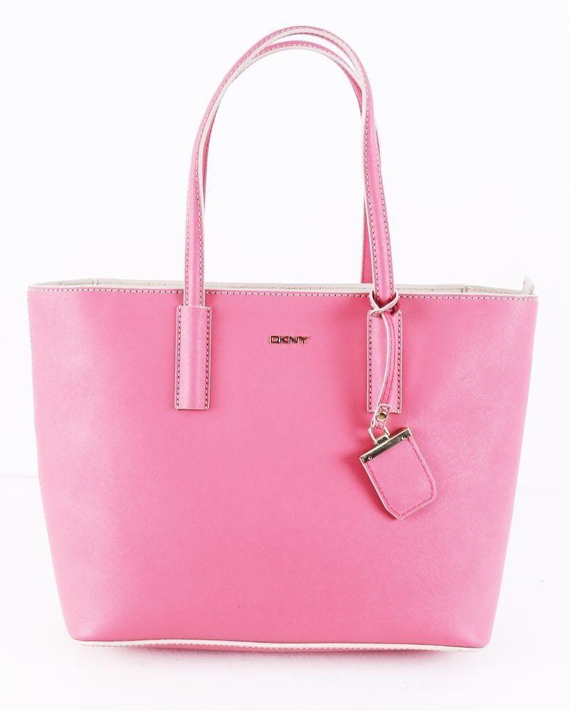 Sac cabas en cuir rose DKNY