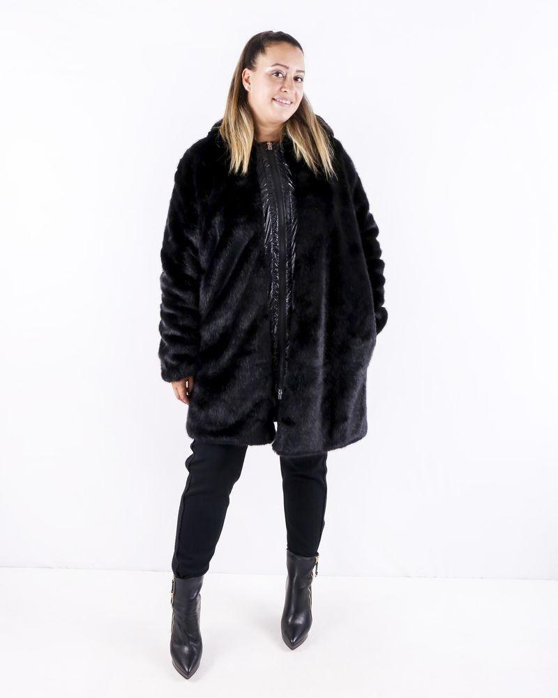 Manteau en fourrure synthétique noir Jijil