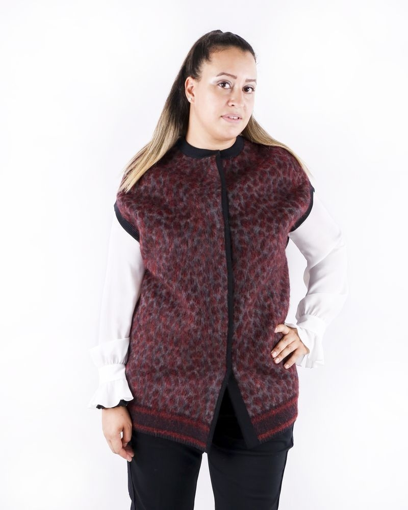 Gilet long en mohair bordeaux à motif animal She's so