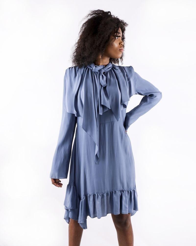 Robe volanté en soie bleu See by Chloe
