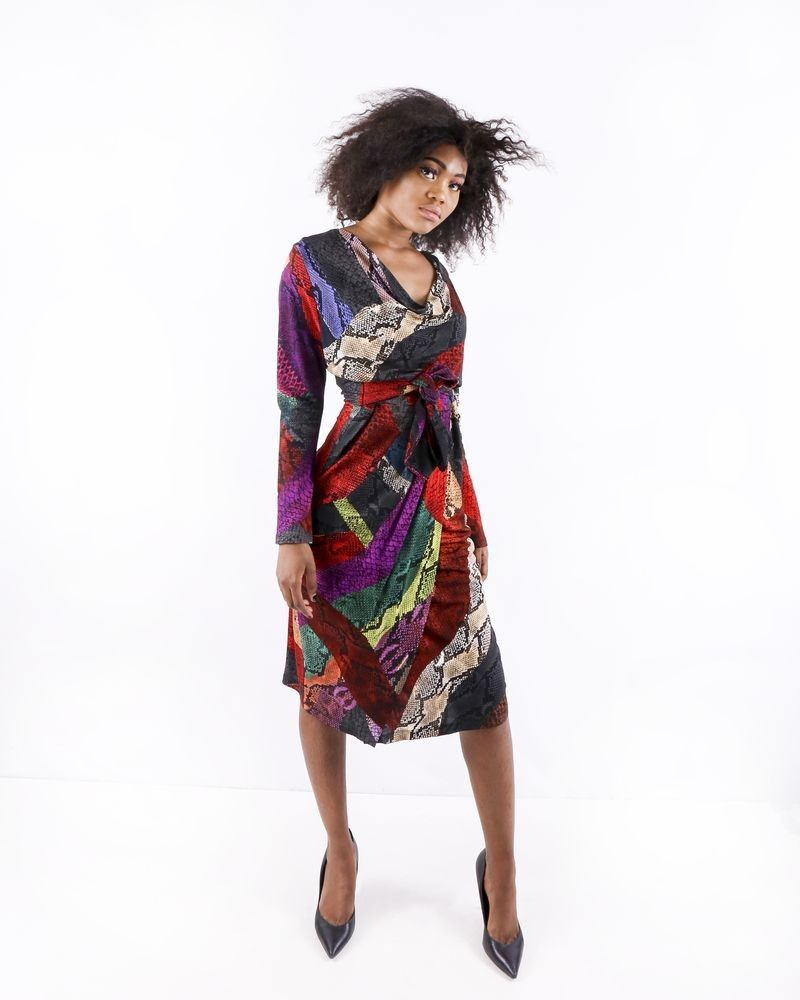 Robe en viscose multicolore à imprimé animal Roberto Cavalli