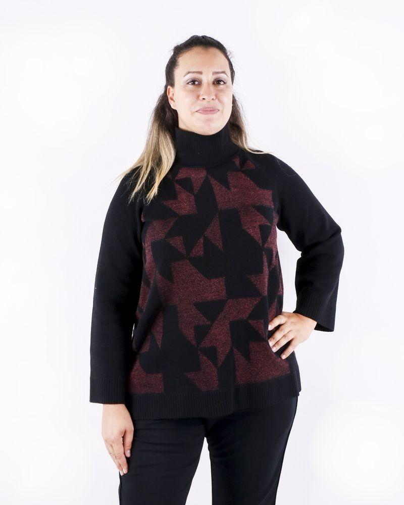 Pull en mérinos noir à motifs géométriques rose She's so
